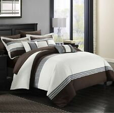Luxurious Comforter Set Bedding 10 Piece King Size Bed in a Bag Bedspread Brown