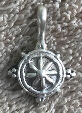 Tibetan Prayer Bead Mala Counter Sterling Silver Wheel Motif for Dharma