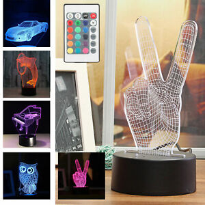 3D Led Lamp Base Night Light USB Touch 7 Colors Change Lamp Panel Remote BSG