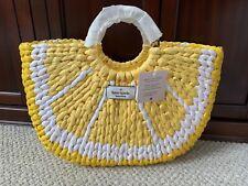 Kate Spade Picnic Lemon Medium Wicker Tote WKRU6835 Yellow