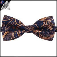 Dark Blue with Gold Plume Design Bow Tie Men's Bowtie