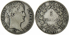 NAPOLEON  I°  ,  5  FRANCS  ARGENT  1811  BB  STRASBOURG  ,  RARE
