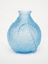 ART DECO Powder Blue Molded Glass Vase Sabino Style