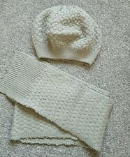 Mini Boden Girls Hat Scarf Set Grey Cable Knit Age 7-10 Beret Style. Brand new