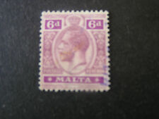 MALTA, SCOTT # 58, 6p. VALUE DULL VIOLET & RED VIOLET KGV 1914-21 ISSUE USED