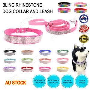 Bling Rhinestone Dog Collar Sparkle Diamante Leash Lead Set Microfiber Pet Cat
