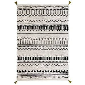 Moroccan Tribal Ethnic Design Printed GREEN Cream Cotton Durrie Flat weave Rugs