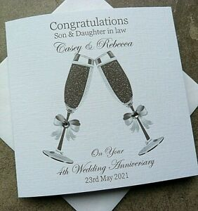 Handmade Personalised Wedding Anniversary Card Champagne Flutes Card    H6
