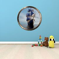 """24"""" Porthole Ocean Window PIRATE SHIP DAY #1 ROUND Wall Sticker Graphic Decal"""