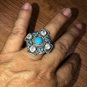 Nicky Butler 925 Sterling Silver Turquoise/Moonstone Aquamarine Stone Ring Sz 9
