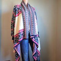 Fantastic Fawn Aztec Waterfall Open Front Knit Cardigan Women's Size Medium (M)