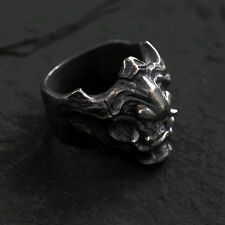 925 Silver Samurai Armour Hannya Ring Retro Handmade Men's Gift Collection