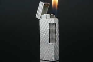 Dunhill Rollagas Lighter  Waves Silver plated Working #O43