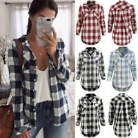 USA Women Ladies Plaid & Check Flannel Shirts Button Down Tops Blouse PLUS SIZE
