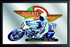 Ducati California Hot Rod Nostalgie Barspiegel Spiegel Bar Mirror 22x32 cm