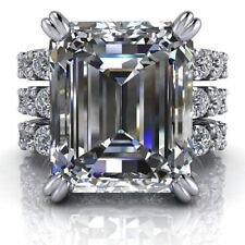 White Emerald Moissanite 925 Sterling Silver Two Set Engagement Ring 6.64Ct Near