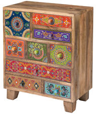 Solid Mango Wood Indian Chest of Nine Drawers Cabinet Bedroom Handmade Furniture