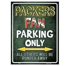 "Green Bay Packers Fan Parking Only Novelty Metal Parking Sign 9"" x 12"""