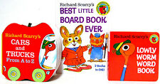 Richard Scarry Set Cars and Trucks A to Z,Lowly Worm,Best Little Board Book Ever