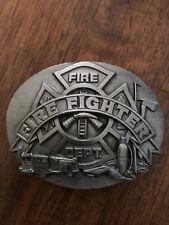 1991 vintage firefighters pewter belt buckle