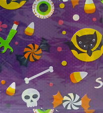 "HALLOWEEN TABLE COVER Bats Bones Skeletons Spiders Candy Corn 54"" x 108"" VINYL"