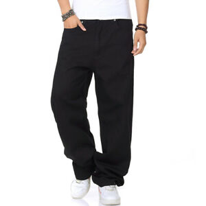 Mens Casual Pants Relaxed Fit Jeans Big Tall Loose Work Rugged Thick Pure Black