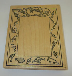 "Fly Fishing Rubber Stamp Frame Lures XL Wood Mounted 5 5/8"" High RARE Retired"