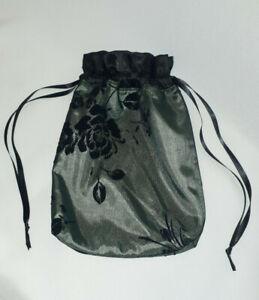 Sage Green and Black Velvet Net Drawstring Dolly Bag Evening Wrist Bag Purse
