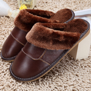 Mens Flats Fleece Lined Round Toe Oxford Slipper Winter Warm Indoor Slides Shoes