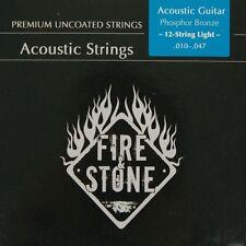 Fire&Stone 12-String Acústica Oeste Guitarra Fósforo Bronce Cadenas Kit Cuerdas