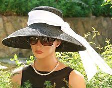 Breakfast at Tiffany's Hat, Women's wide brim formal hat wedding hat Audrey Hat
