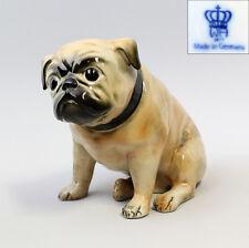 Porzellanfigur Wagner&Apel Mops Hund braun H16cm 42252