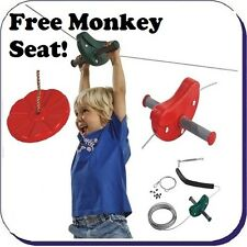 Zip Wire Ride Kit Red + Free Swing Seat - Aerial ZIP LINE KIT