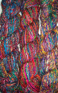 1 Quality Recycled Soft Silk Sari Knitting Crochet Woven Yarn 1000 Grams
