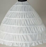 White 6-HOOP Wedding  dress Ball gown crinoline petticoat skirt Super