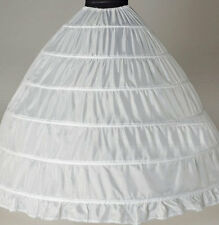 White 6-HOOP Wedding  dress Ball gown crinoline petticoat skirt Super