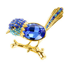 ONE 14K Gold Plated Blue Wren Brooch with Topaz & Crystals