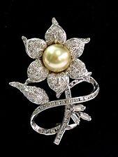 "Fine South Sea Pearl Diamond 14Kt White Gold Flower Brooch 10.5mm 1.90Ct 2"""