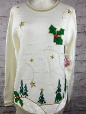 NWT Women's Sz. L Christmas Tree Pullover Ugly Christmas Theme Sweater Off-white