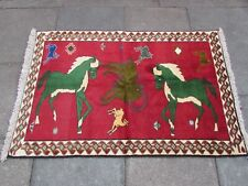 Vintage Traditional Hand Made Oriental Gabbe Wool Red Small Rug 158x104cm Animal