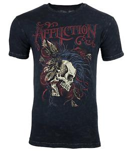 AFFLICTION BATTLE CRY Men's T-shirt BLACK LAVA