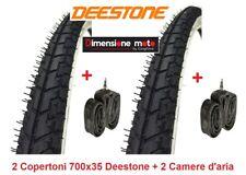 """2 copertoni Deestone 700x35c neri 2 camere D'aria per bici 28"""" Single Speed"""