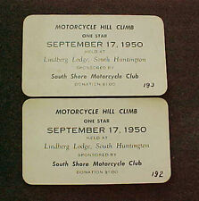 2 Tickets 1950 South Shore MC Hill Climb Lindberg Lodge South Huntington NY