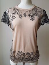 Valentino Spa Beige Blouse with Short Black Lace Sleeves Size L