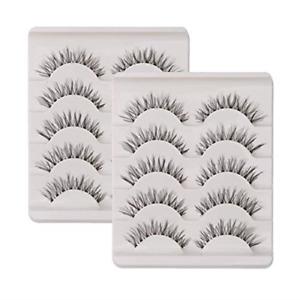 KFZR 10 Pairs False Lashes Eyelashes Natural Look Handmade Crisscross 3D Black