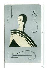 "Single Vintage Playing Card ""Glamour Girl/Fan"" Art Deco"