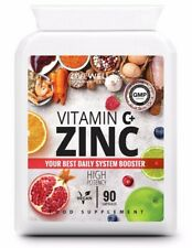 Vitamin C + Zinc HIGH STRENGTH 90 Capsules - Immune Support Flu - Vegan Tablets