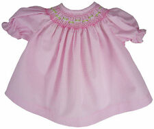 "15"" Doll Clothes Pink Gingham Hand-Smocked Dress Bitty Baby"