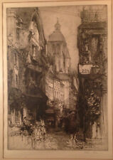 E Hedley Fitton Signed in pencil & Signed in plate  Etching  1910   Clock Town