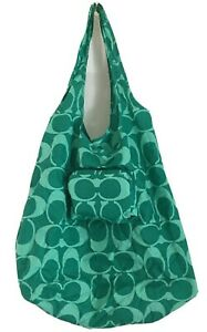COACH Signature Designer Folding Shopping Tote Nylon Green Bright Jade with tag